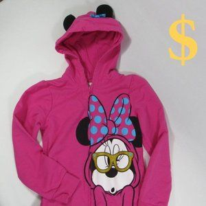 Disney Minnie Mouse w/ Glasses Full Zip Hoodie 6X